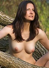 All natural girl posing naked in nature